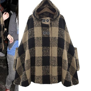 Maternity Loose Plaid Hooded Cloak