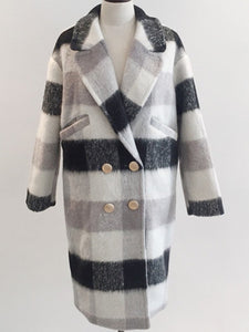 Lapel  Double Breasted  Plaid  Long Sleeve Coats