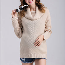 High Collar Long Sleeves Maternity Sweater