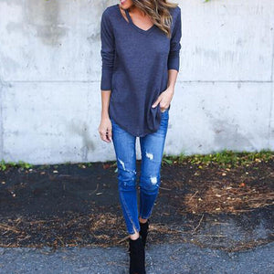 Casual V-Neck Autumn Long Sleeve  T-Shirts
