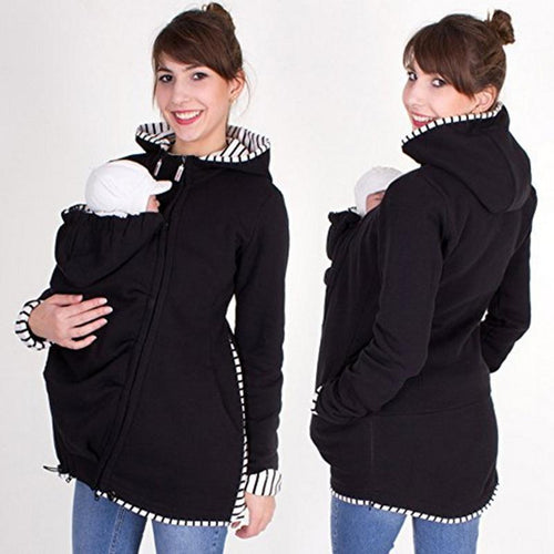 Striped Stitching Multi-Functional Kangaroo Hoodie