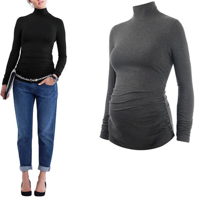 Maternity Roll Neck Solid Color Thicken Tee