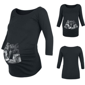 Maternity Round Neck Print Long Sleeve Tee Top