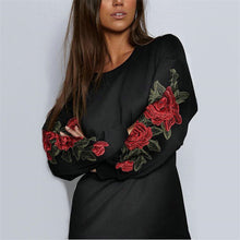 Embroidered Round Collar Long Sleeved Sweater