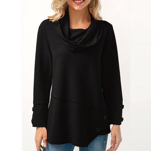 Cloak Collar Long Sleeves Button Asymmetric Hoodie