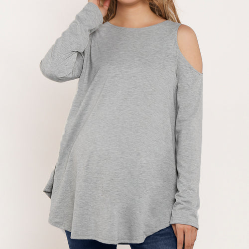 Round Neck Cold Shoulder Maternity Tee