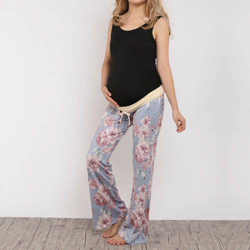 Maternity Floral Pattern Wide Leg Trousers