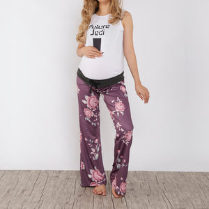 Maternity Print Frenulum Broad Leg Women Trousers