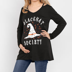 Maternity Halloween Printed Long Sleeve Cut Out V-Neck Shirt