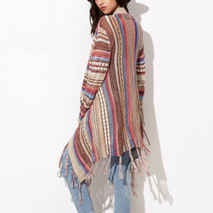 Irregular Hollow Out Color Strip Tassels Stripe Cardigan