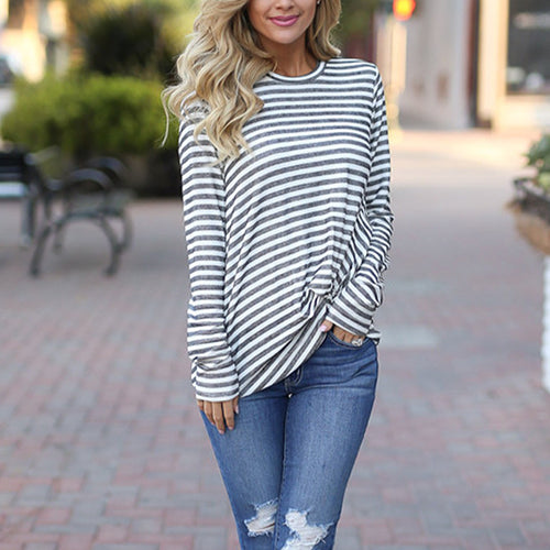 Heathered Cropped Twist Long Sleeve Striped T-Shirt