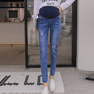 Maternity Hole Fashion Ninth Pants Jeans