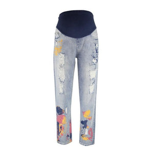 Maternity Ripped Flowers Print Jeans