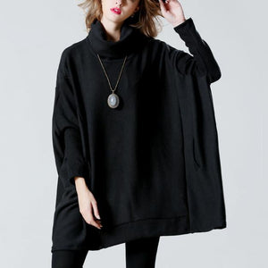 Fashion Roll Neck Solid Color Long Loose Knit Sweater