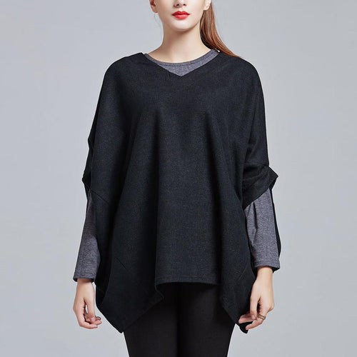 Fashion Solid Color Batwing Sleeve Loose Knit Sweater