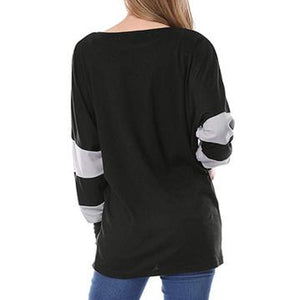 Circular Collar Bats Sleeves Color Collision Splicing T - Shirt