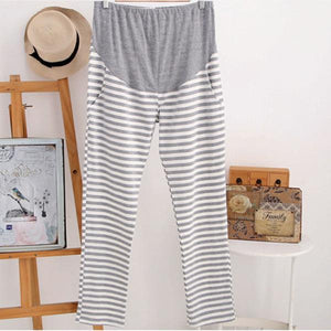 Maternity Clothing Spring Summer Striped Pregnancy Pants Cotton Loose Maternity Trousers Sleepwear