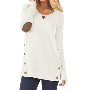 Chic Casual Elbow Patch Long Sleeve Blouse