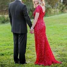 Christmas Red Elegant Short Sleeve Sequin Mesh Gown