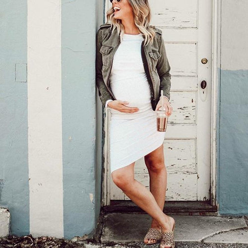 Maternity White Long Sleeve Bodycon Dress