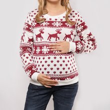 Maternity Christmas Deer Printing Long Sleeves Hoodie
