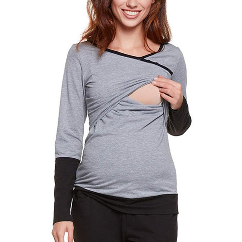 Multi-Function Lactation Splicing Long Sleeves Maternity T - Shirt