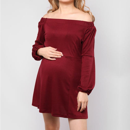 Maternity Off Shoulder Puff Sleeves Maternity Dress