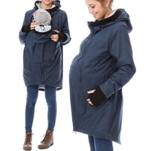 Kangaroo Stitching Fur Collar Hooded Maternity Jacket