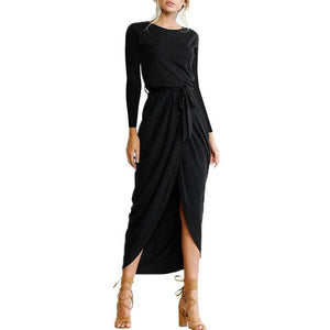Long Sleeve Self Tie Front Slit Ankle-Length Dress