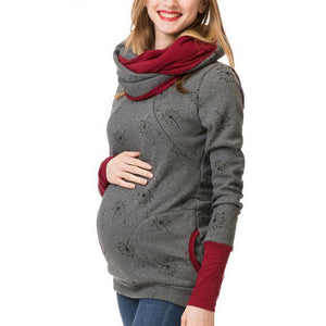 Multi-Function Cashmere Printing Long Sleeves Lactation Maternity Hoodie