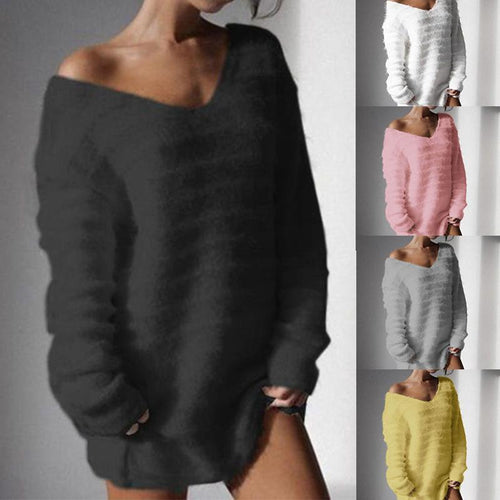 V Neck Plain Long Sleeve Casual Knitting Sweaters