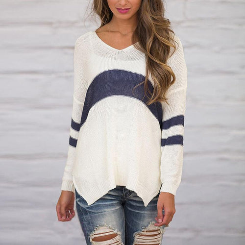 V Neck Color Block Loose Long Sleeve Knitting Sweaters