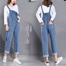Maternity Denim Pants Spring Autumn Striped Rompers Overalls Pregnant Bib Jeans