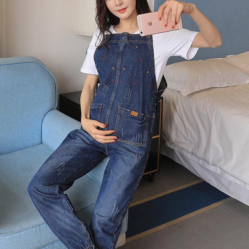 Denim Maternity Suspender Trousers Jeans