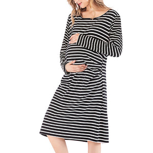 New Stripe Loose Comfort Cotton Modal Maternity Dress