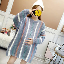 Maternity Hollow Out Stripes  Warm Sweater