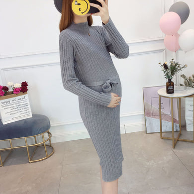 Maternity Bodycon Long Sleeve Sweater Dress With Bow