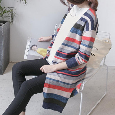 Maternity Colorful Stripe Cardigan