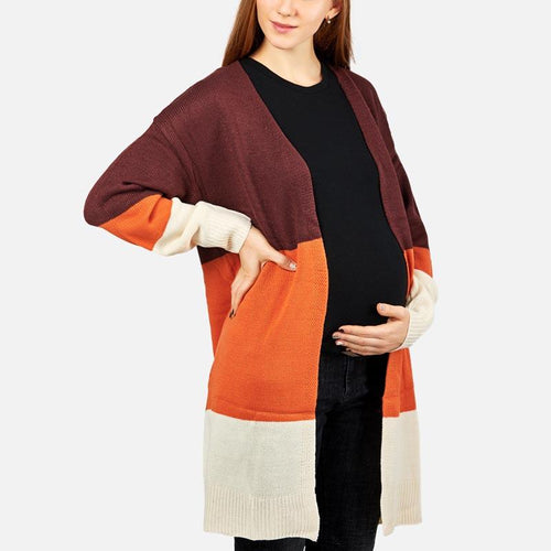Maternity Color Block Long Sleeve Cardigans