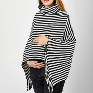 Maternity Cowl Neck Striped Tassel Cape Sweaters