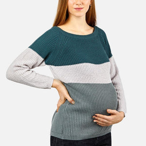 Maternity Scoop Neck Color Block Sweaters