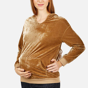 Maternity Long Sleeve Pocket Plain Hoodies
