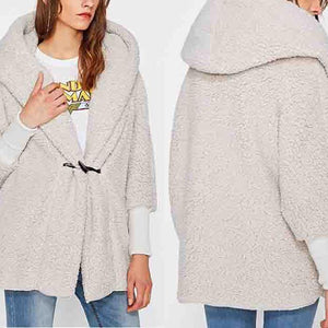 Thick Hooded Paddy Sleeve Cashmere Coat