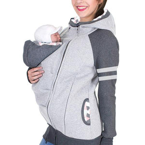 Maternity Removable Multifunctional Colormatch Kangaroo Hoodie