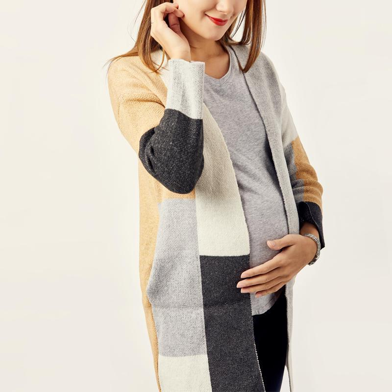 Maternity Color Block Ribbed Cardigan