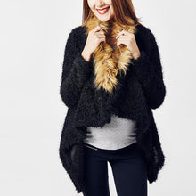 Maternity Faux Fur Collar Asymmetric Hem Plain Outerwear