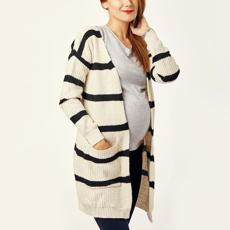 Maternity Loose Fitting Striped Basic Cardigans