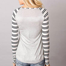 Long Sleeve Striped Christmas Letter Print T-Shirt
