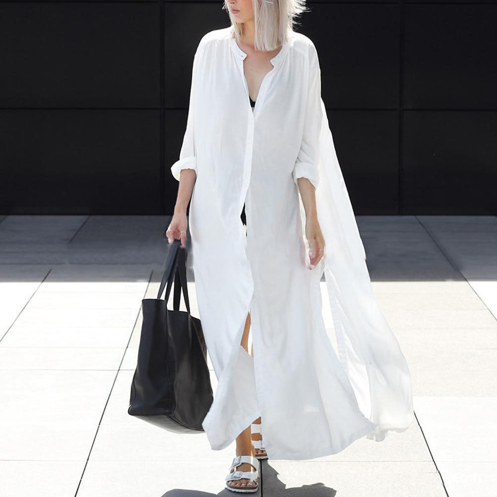 Casual Pure Color Long-Sleeved Maxi Vacation Dress