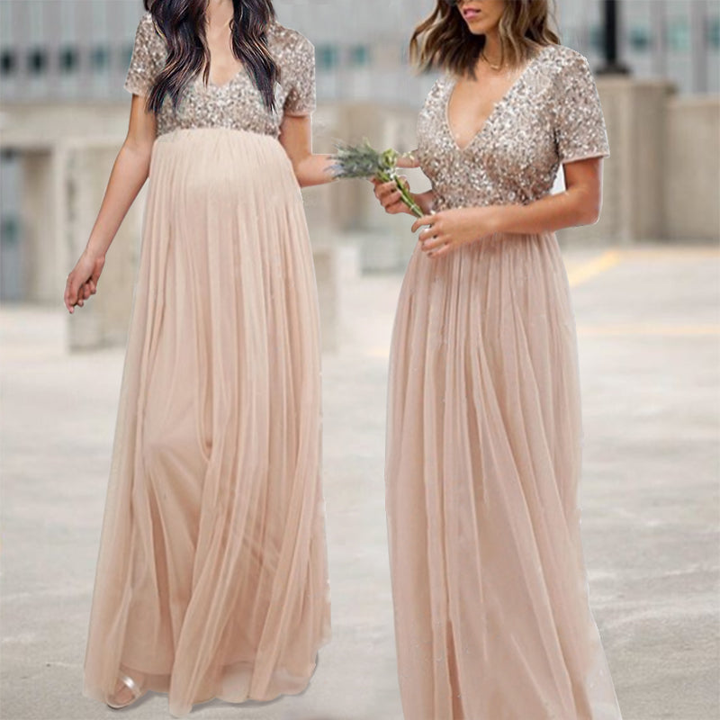Maternity V Neck Maxi Tulle Dress With Tonal Delicate Sequins